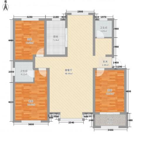 颐和家园3室1厅2卫1厨154.00㎡户型图