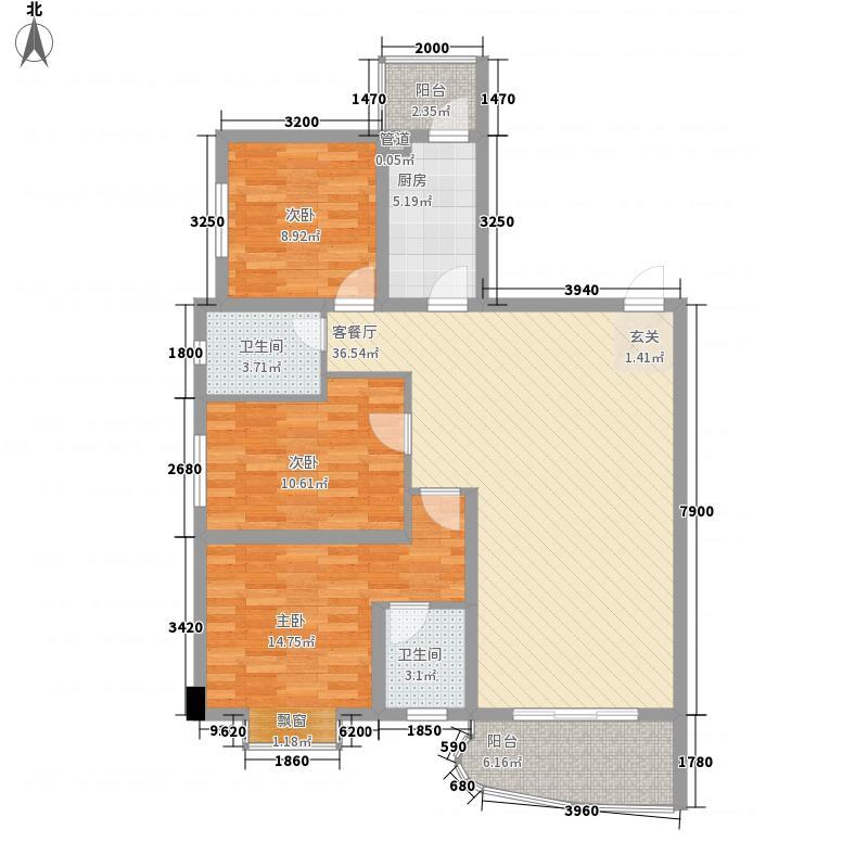 富城国际113.10㎡9#C户型3室2厅2卫1厨