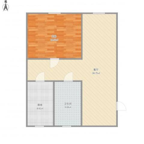 锦东花园1室1厅1卫1厨80.00㎡户型图