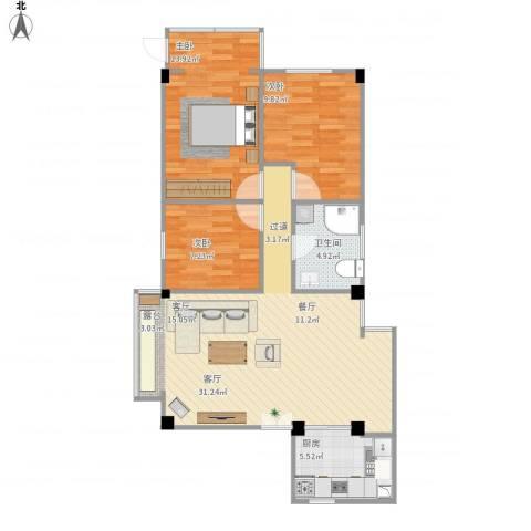 云东花园3室1厅1卫1厨99.00㎡户型图