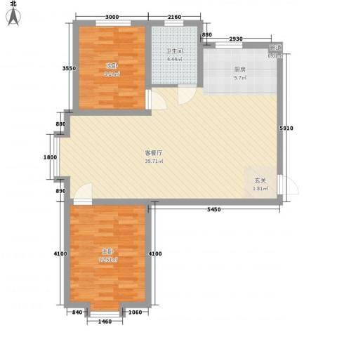 乐活・两岸568庄园2室1厅1卫0厨86.00㎡户型图