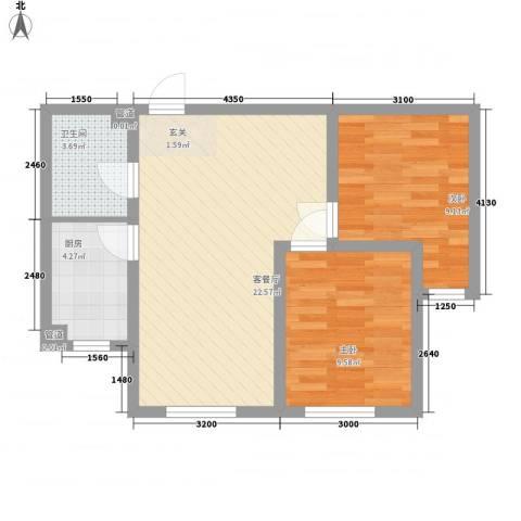 乐活・两岸568庄园2室1厅1卫1厨75.00㎡户型图