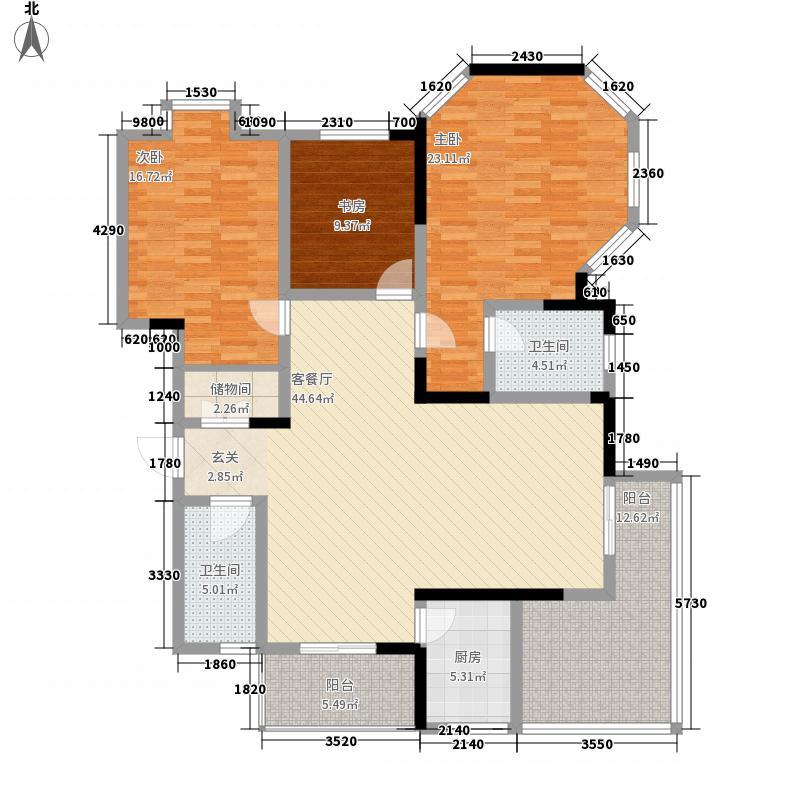 小岛花园城四期D户型3室3厅2卫1厨
