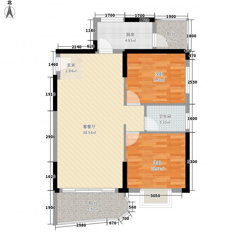 富城国际84.37㎡5#D户型2室2厅1卫1厨