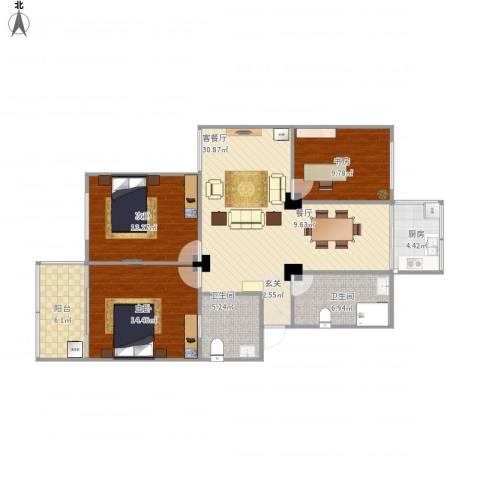 江城世家3室1厅2卫1厨124.00㎡户型图