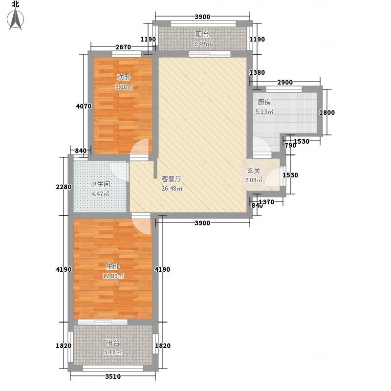 澜山和府85.33㎡B户型2室2厅1卫1厨