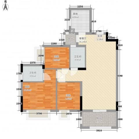 雍景香江3室1厅2卫1厨98.00㎡户型图