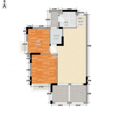 世纪城国际公馆贝丽湖2室1厅1卫1厨88.00㎡户型图
