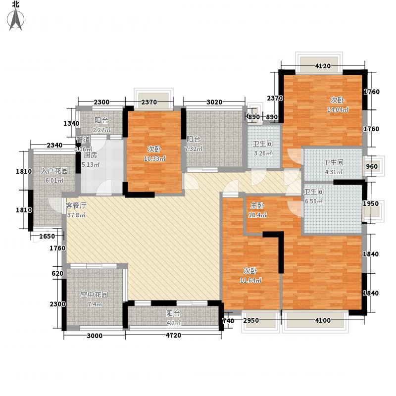 世纪城国际公馆贝丽湖170.00㎡贝丽湖户型图66-69栋远景4+2房偶数层D2户型4室2厅3卫1厨户型4室2厅3卫1厨