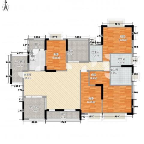 世纪城国际公馆贝丽湖4室1厅3卫1厨170.00㎡户型图
