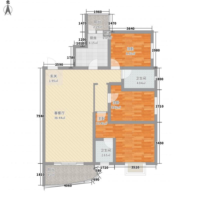 富城国际114.76㎡9#B户型3室2厅2卫1厨
