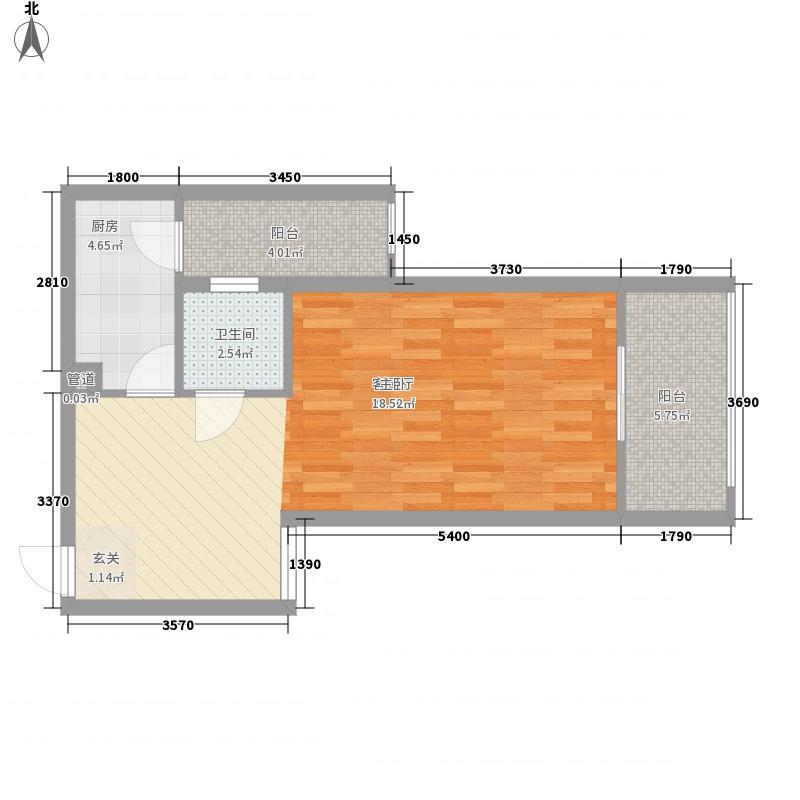 禧诚雁巢53.78㎡A-12号户型1室1厅1卫1厨