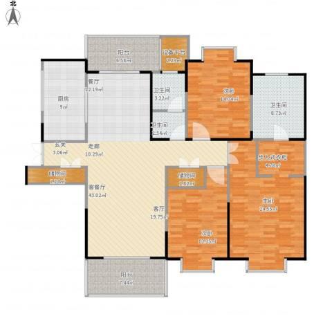 鹏欣一品漫城三期3室1厅3卫1厨187.00㎡户型图