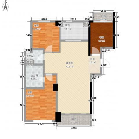 花木绿城锦绣兰庭3室1厅2卫1厨147.00㎡户型图