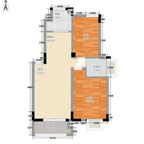 联华泉山湖2室1厅1卫1厨67.00㎡户型图