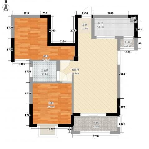联华泉山湖2室1厅1卫1厨68.00㎡户型图
