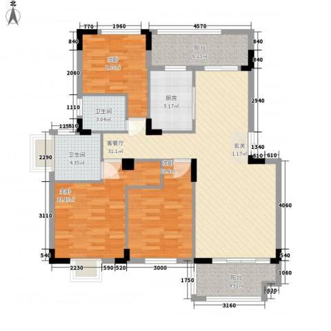 联华泉山湖3室1厅2卫1厨99.96㎡户型图