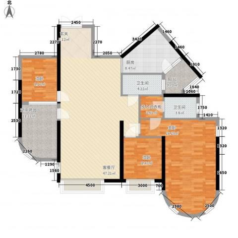 锦绣华景3室1厅2卫1厨157.00㎡户型图