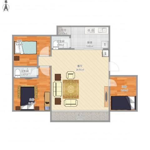 御景湾花园3室1厅2卫1厨85.00㎡户型图
