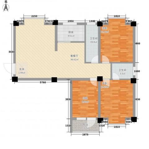 瑞金福邸3室1厅2卫1厨124.00㎡户型图