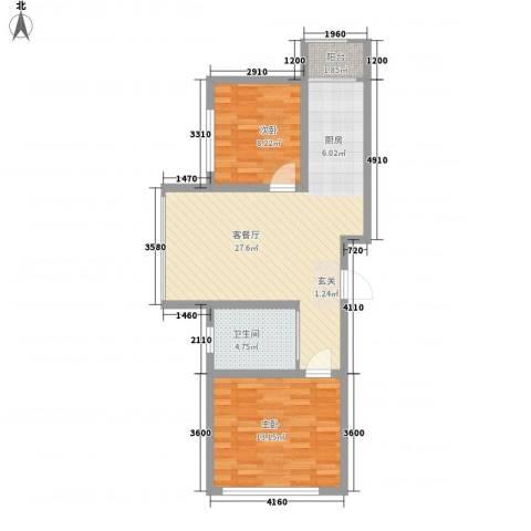 中新花园2室1厅1卫0厨83.00㎡户型图