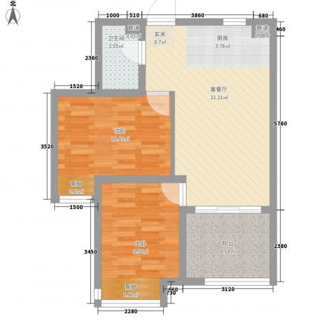 钓鱼台三号院2室1厅1卫0厨51.24㎡户型图