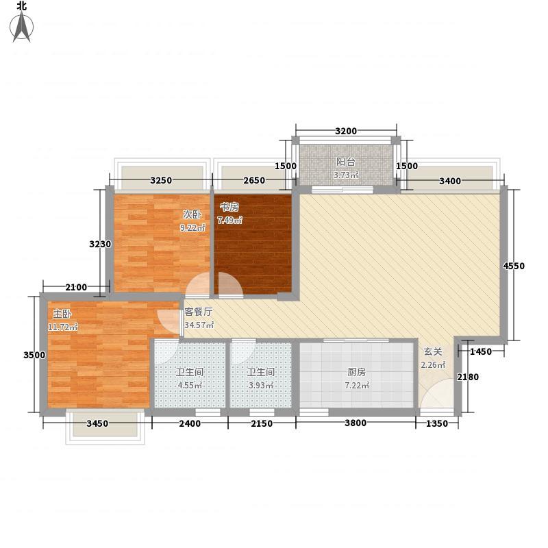 惠丰瑞城13115.22㎡E1户型3室2厅2卫1厨