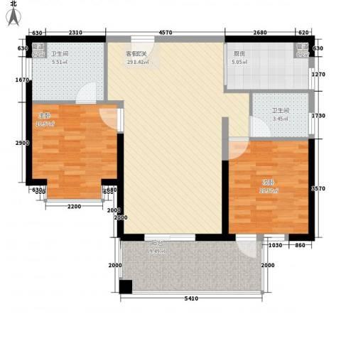 凤凰水城红树湾2室1厅2卫1厨98.00㎡户型图