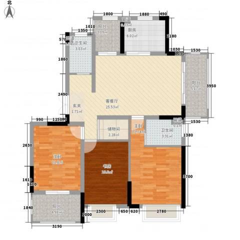 金茂国际3室1厅2卫1厨127.00㎡户型图