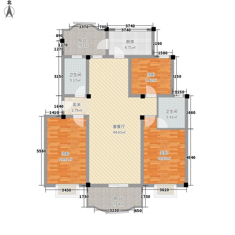 四季圣园134.00㎡户型3室2厅1卫1厨