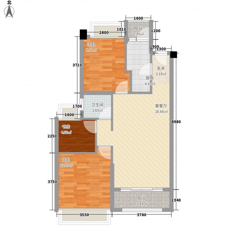 惠丰瑞城134.17㎡F1户型3室2厅1卫1厨