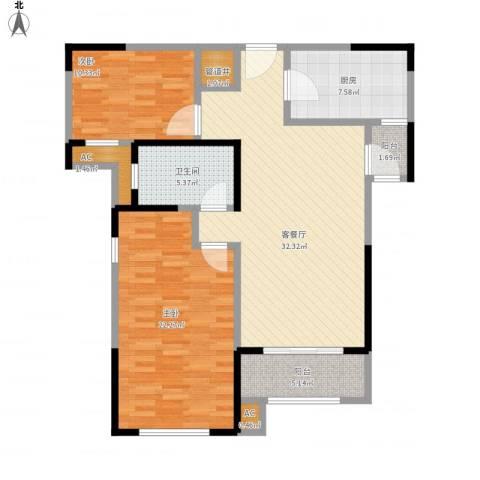 路劲主场琅悦2室1厅1卫1厨99.60㎡户型图