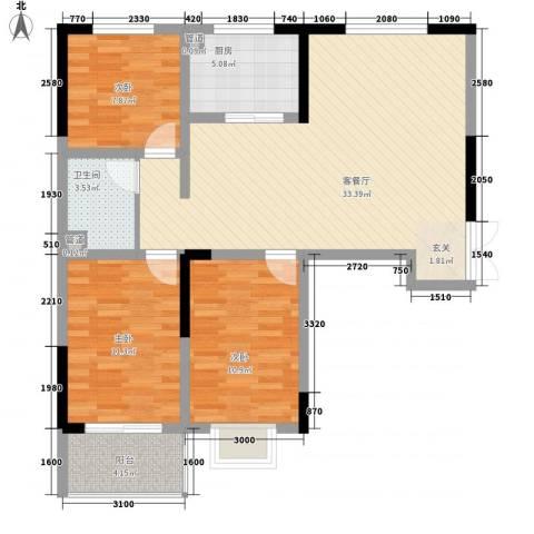 瑞金福邸3室1厅1卫1厨76.43㎡户型图