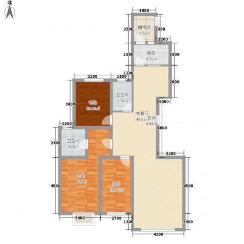 东湖丽景3室1厅2卫1厨143.00㎡户型图