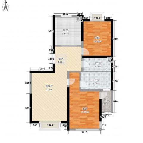 幸福阳光2室1厅2卫1厨97.07㎡户型图