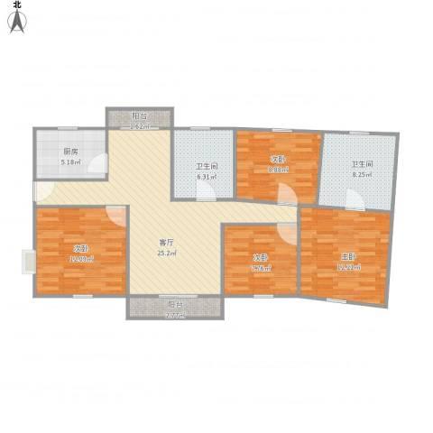 鹏欣一品漫城三期4室1厅2卫1厨123.00㎡户型图
