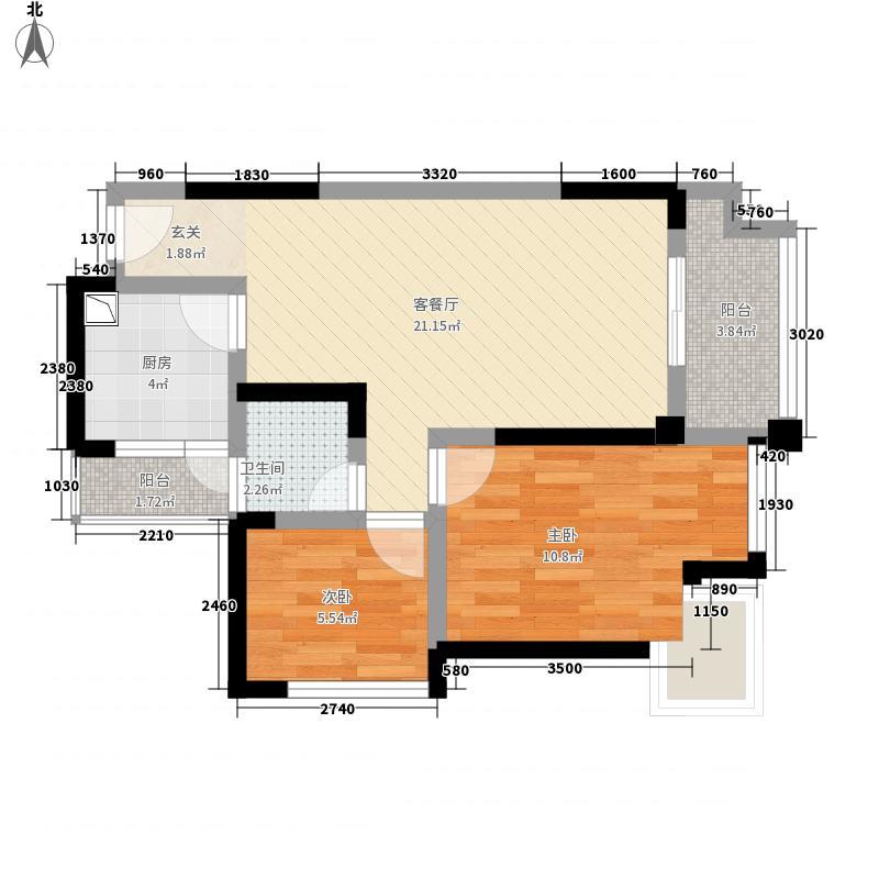 塞纳国际73.00㎡D3户型2室2厅1卫1厨