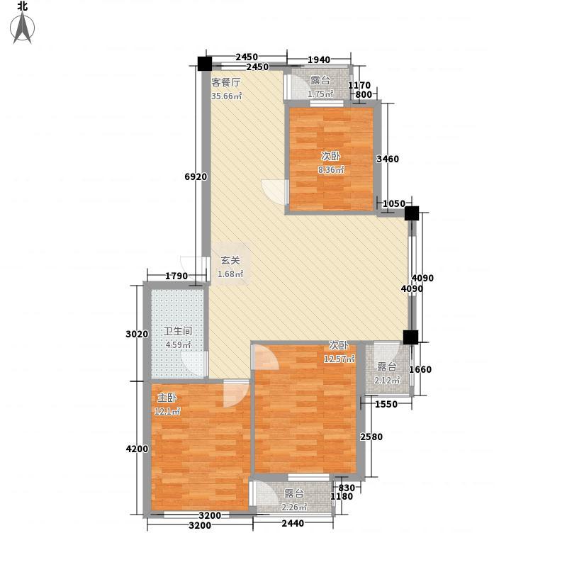 阳光彼岸3.48㎡9348户型3室2厅1卫1厨