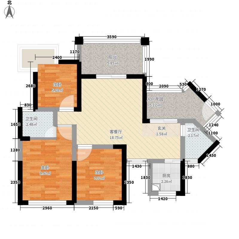 塞纳国际88.00㎡D2户型3室2厅2卫1厨