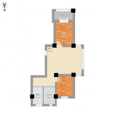 世纪阳光2室1厅1卫1厨91.00㎡户型图