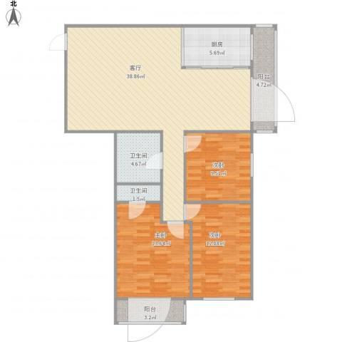 安慧北里逸园3室1厅2卫1厨127.00㎡户型图