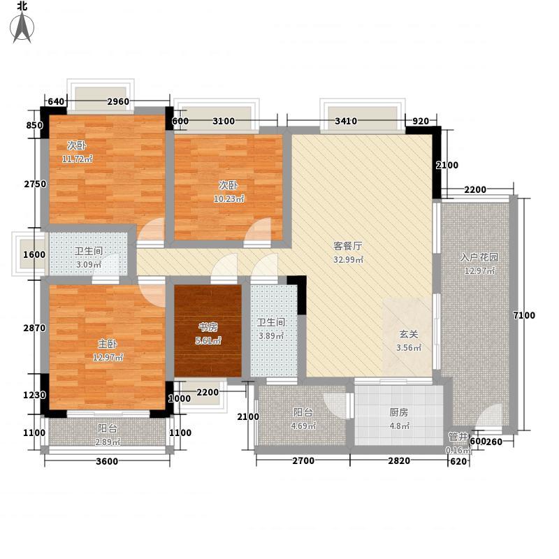 金福现代城13.35㎡5#b1户型4室2厅2卫1厨