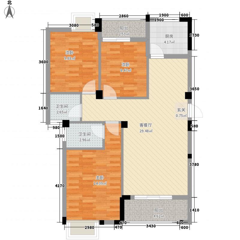 西湖绿洲城112.12㎡A2户型3室2厅2卫