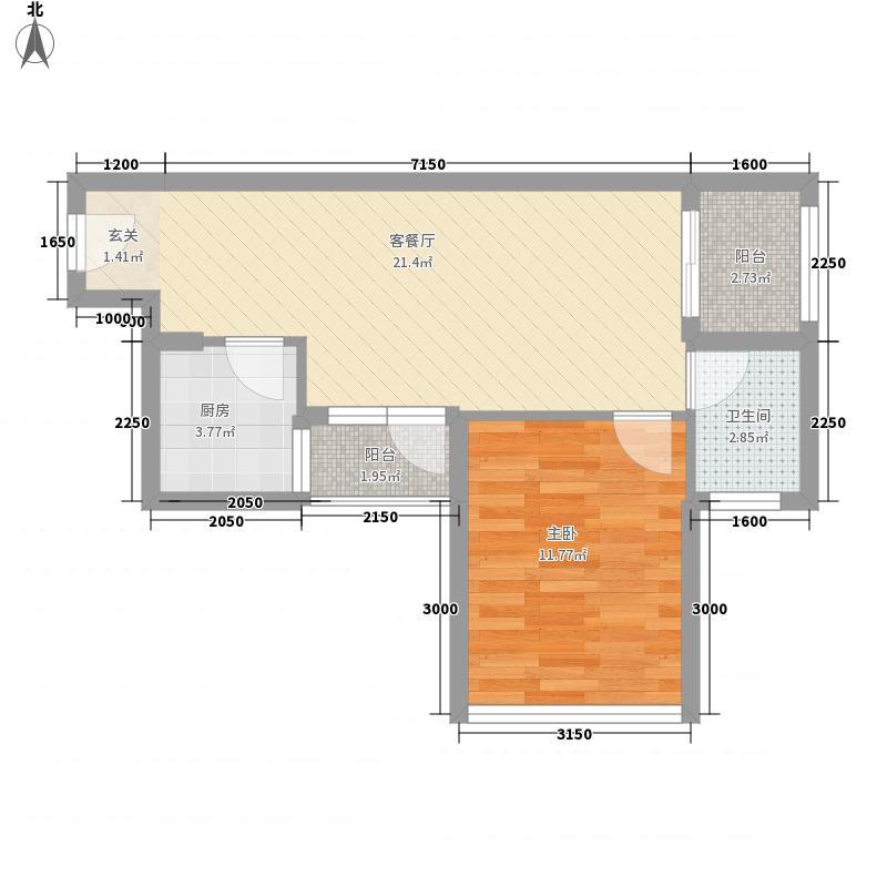 水岸阳光12156.72㎡G户型1室2厅1卫1厨
