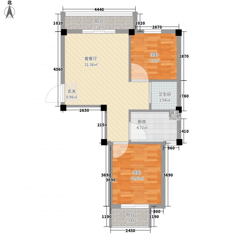 渤海龙江花园76.81㎡温馨港湾户型2室1厅1卫1厨