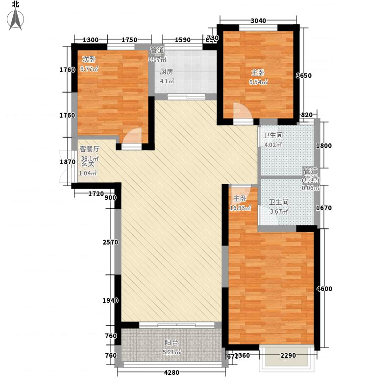 合鑫中央公园133.57㎡E1户型3室2厅2卫1厨