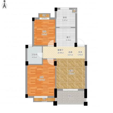 万里阳光水岸2室1厅1卫1厨102.00㎡户型图