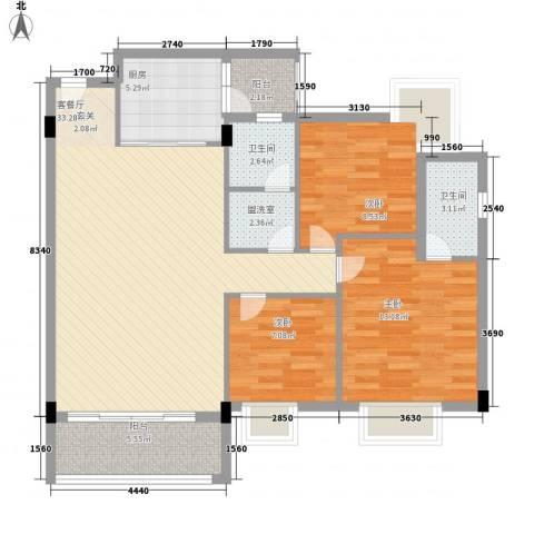 嘉豪雅苑3室2厅2卫1厨118.00㎡户型图