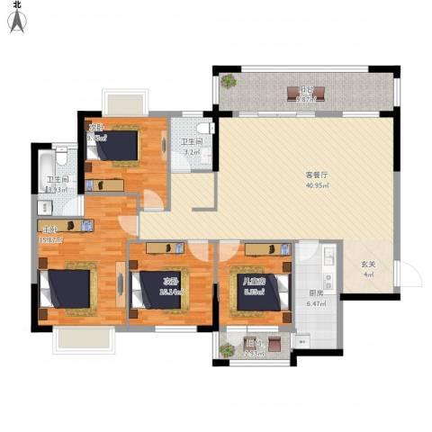 九个半岛4室1厅2卫1厨158.00㎡户型图