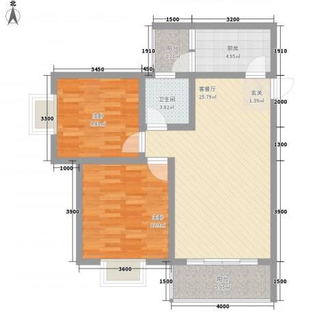 长桥郡2室1厅1卫1厨79.00㎡户型图